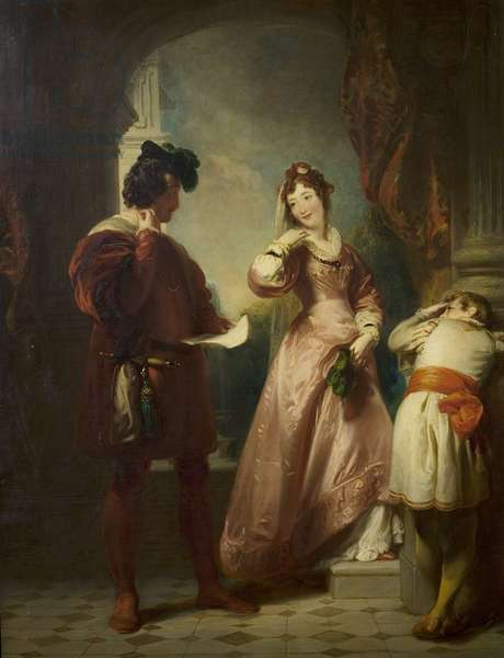 'The Two Gentlemen of Verona', Act II, Scene 1, Milan, The Duke's Palace: Valentine, Speed and Silvia (oil on canvas)