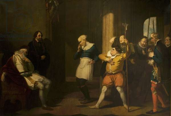 'Measure for Measure', Act II, Scene 1, the Examination of Froth and Clown by Escalus and Justice (oil on canvas)