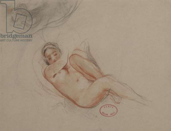 A Female Nude (black & red chalk on brown paper)