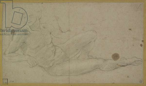 A Reclining Male Nude, late 16th century (black chalk on buff paper)