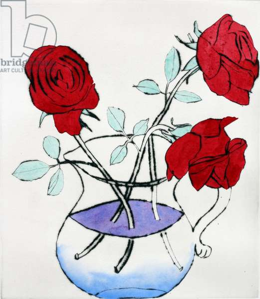 Alizarin Roses, 2012 (drypoint and watercolour)