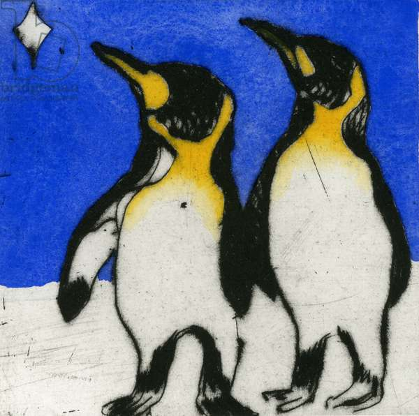 Penguins Stargazing, 2010 (drypoint and watercolour)