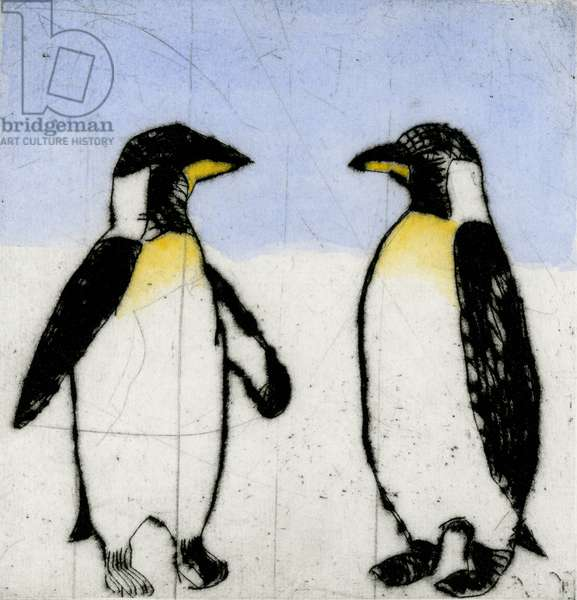 Penguins, 2010 (drypoint and watercolour)