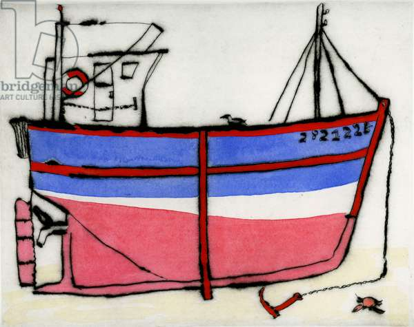 Awaiting the tide, 2010 (drypoint and watercolour)