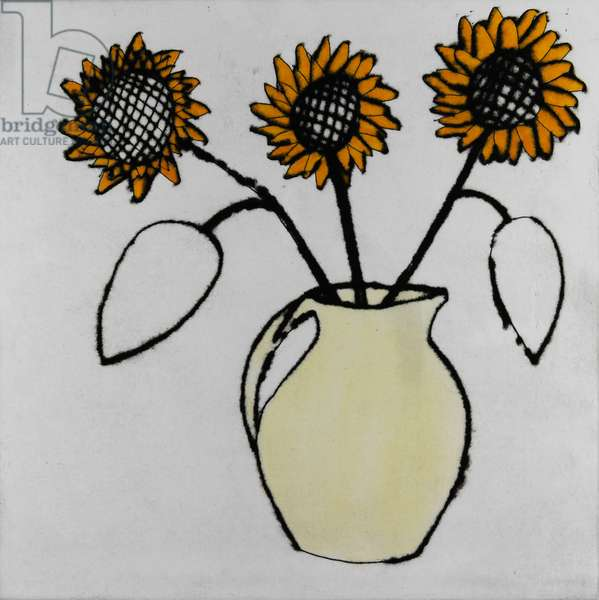 Sunflowers, 1996 (drypoint and watercolour)