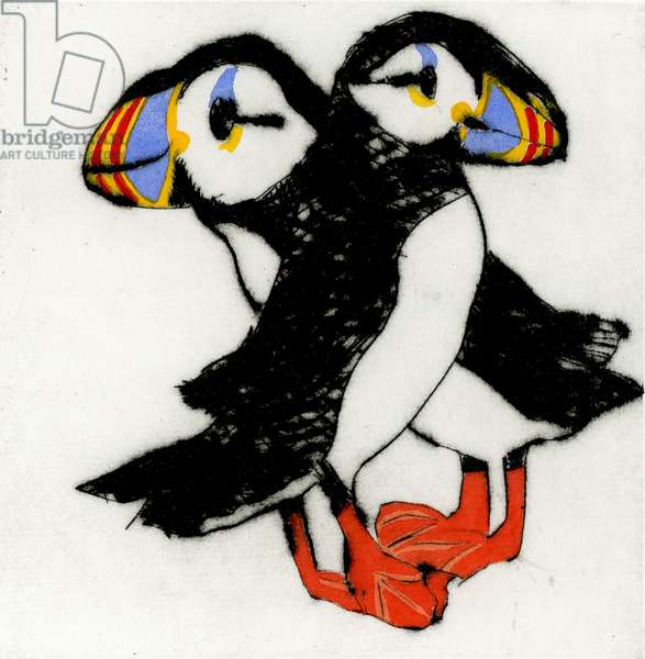 Puffin Pair, 2010 (drypoint and watercolour)