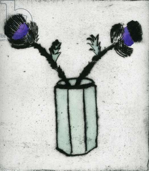 Thistle, 1997 (drypoint and watercolour)