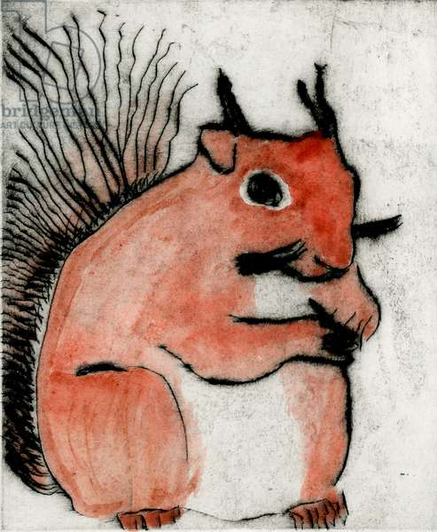 Red Squirrel, 2008 (drypoint and watercolour)