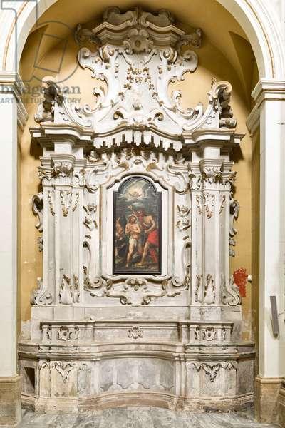 Church of the SS Salvatore, interior, Altar of the Baptism of Christ, Poggiardo, Lecce, Puglia (photo)