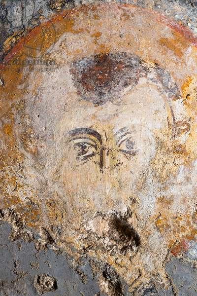 Crypt of the Redeemer, fresco with St. Basil, detail, Taranto, Apulia (photo)
