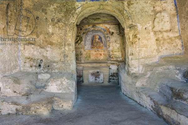 inside of the Rock Church of Sant'Agnese, Matera, Basilicata, Italy.