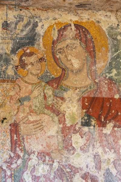Altamura, Bari, Apulia, Italy, Masseria Iesce, crypt, Fresco of the Madonna and Child
