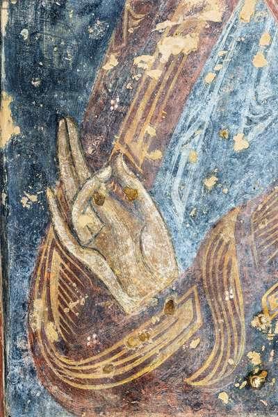 Mottola, Taranto, Puglia, Italy, Rock Church of St. Nicholas, Fresco of Christ Pantocrator in Deesis, detail (photo)