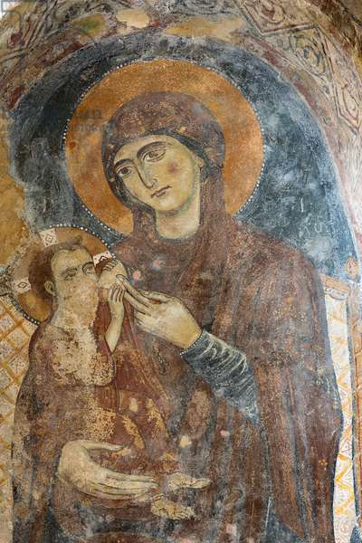 Madonna del latte, fresco in the Rock Church of Santa Lucia alle Malve, Matera, Basilicata, Italy.