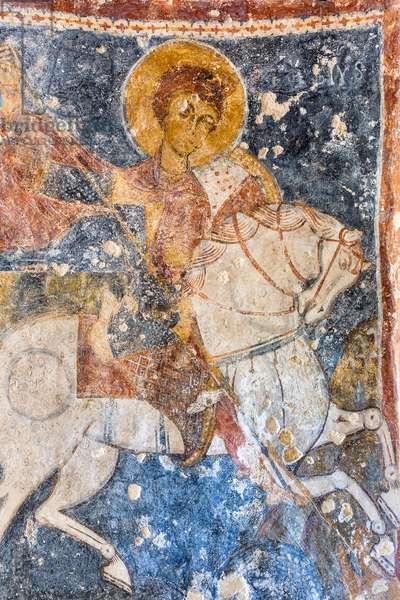 Mottola, Taranto, Puglia, Italy, Rock church of Santa Margherita, Fresco of San Giorgio a Cavallo (photo)
