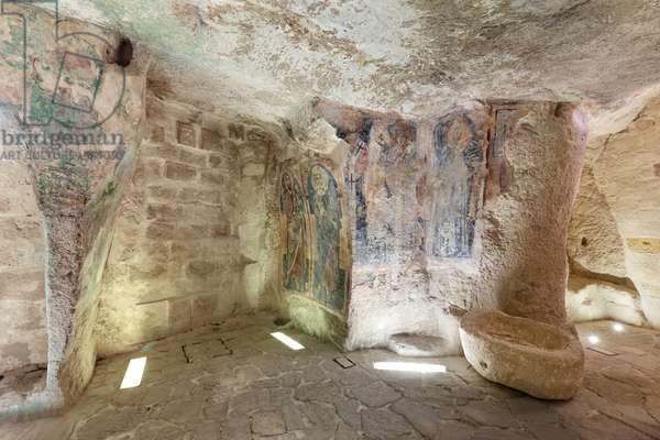 inside of the Rock Church of San Giovanni in Monterrone, Matera, Basilicata, Italy.