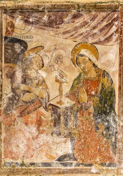 Matera, Basilicata, Italy, Fresco of the Annunciation in the Rock Church of San Pietro Barisano (photo)