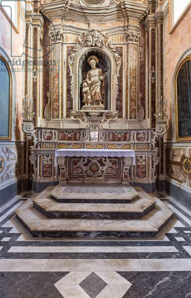 Altamura, Bari, Puglia, Italy, The Cathedral of Santa Maria Assunta, Chapel of the SS Sacramento with statue of St. Joseph and Child, work of 1654 referring to the hand of some sculptor gravitating in the workshop Roman Bernini