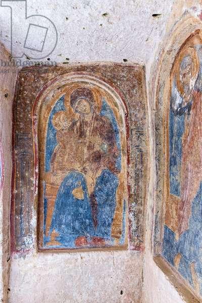 Mottola, Taranto, Puglia, Italy, Rock church of St. Nicholas, interior, Fresco of the Madonna and Child (photo)