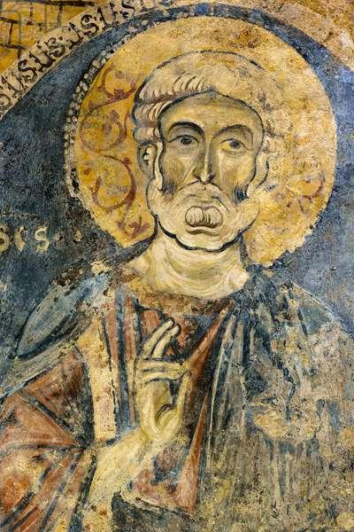 San Pietro, fresco, interior of the Rupestre Church of San Giovanni in Monterrone, Matera, Basilicata, Italy.