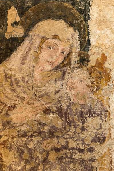 Matera, Basilicata, Italy, Fresco of Madonna and Child in the Rock Church of San Pietro Barisano (photo)