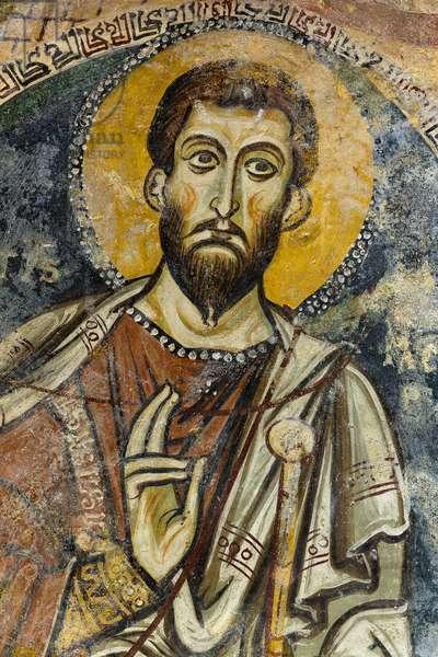 San Giacomo, fresco, interior of the Rupestre Church of San Giovanni in Monterrone, Matera, Basilicata, Italy.