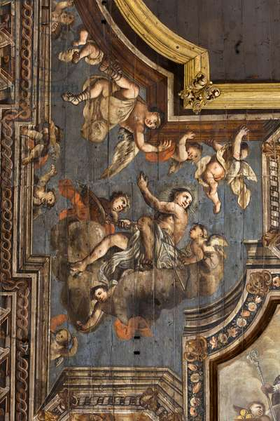 Andria, Puglia, Italy, The Cathedral of Mary Blessed Assumption in heaven, wooden ceiling, detail with St. Sebastian