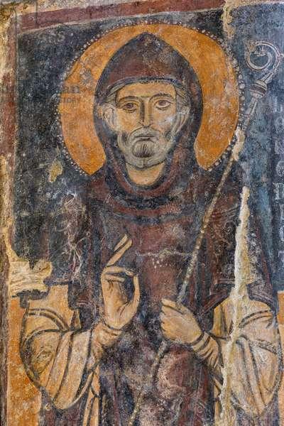 Fresco in the Rock Church of Santa Lucia alle Malve, Matera, Basilicata, Italy.