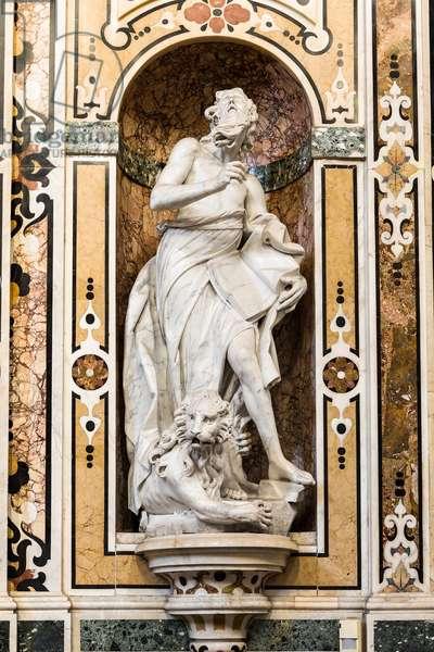 Cathedral of San Cataldo, Chapel of San Cataldo, semi-ellipse of the left: statue of San Marco, Taranto, Puglia (photo)