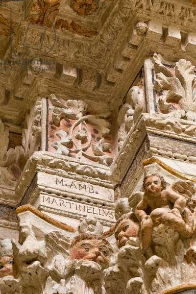 Church of the SS Salvatore, interior, Altar of St. Anthony, detail, Poggiardo, Lecce, Puglia (photo)