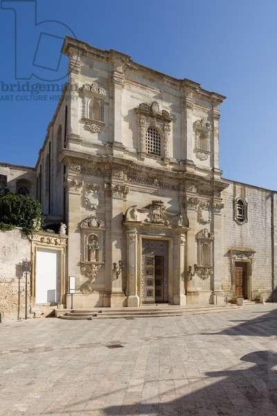 Church of the SS Salvatore, exterior, facade, dating back to 1716 , Poggiardo, Lecce, Puglia (photo)