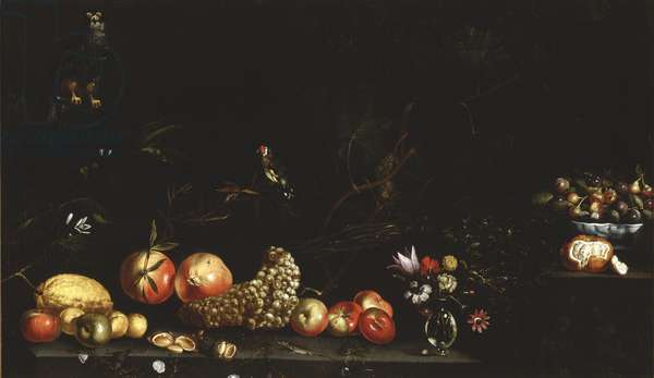 Still life with fruit, flowers, a hawk and a goldfinch, 1620-30 (oil on canvas)
