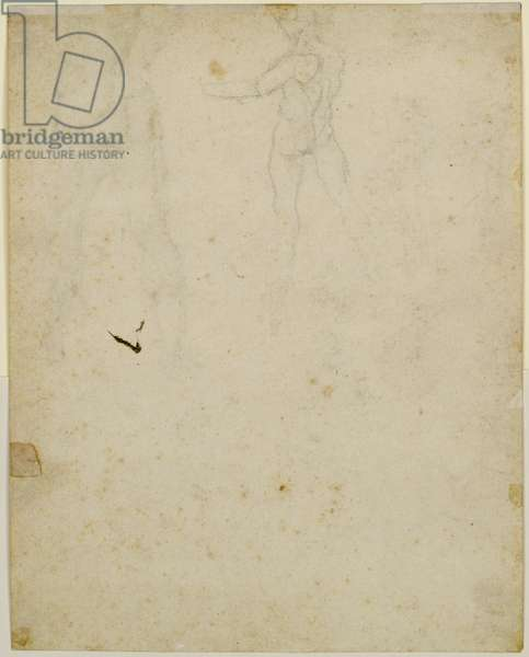 Sketch of the central figure on the recto, view from the left