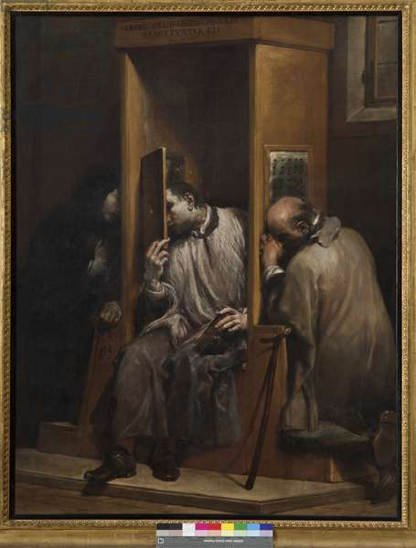 St John of Nepomuk hears confession from the Queen of Bohemia, 1729-41 (oil on canvas)