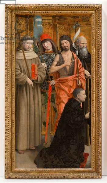 Saints Francis of Assisi, Sebastian, John the Baptist, Anthony Abbot with the Donor, 1475-80 (tempera on panel)