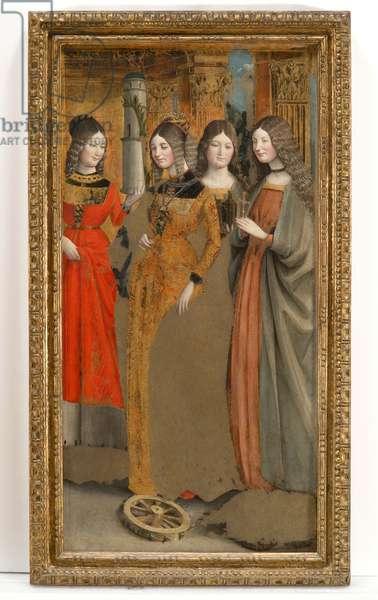 Saint Barbara, Catherine of Alexandria, Magdalene and Margaret of Antioch, 1475-80 (tempera on panel)