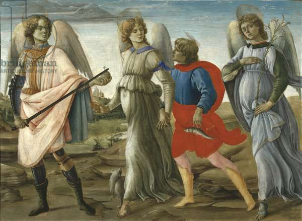 Three Archangels with Young Tobias, 1477-78 (tempera on board)