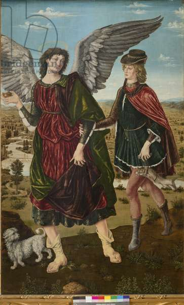 The Archangel Raphael and Tobias, 1465-70 (tempera on board)