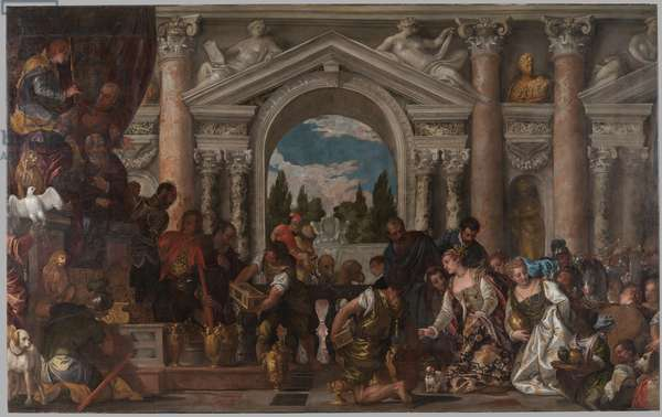 Queen of Sheba offers gifts to Solomon, 1582-83 (oil on canvas)
