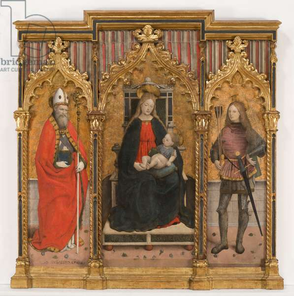 Madonna enthroned with the Child and Saints Ubaldo and Sebastian, 1480-85 (tempera and gold on panel)