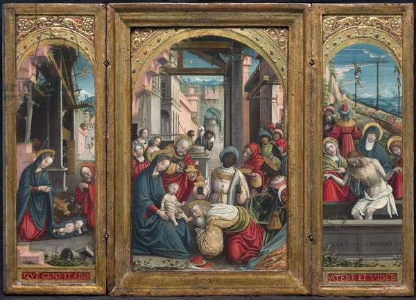 Triptych with the Nativity in the center, on the right the Adoration of the Magi, on the left the Deposition of Christ in the tomb, 1523 (tempera and gold on board)