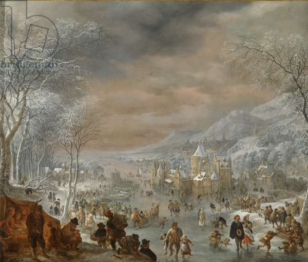 Winter landscape with skaters, church and village along the bank of a river (formerly Winter), 1707-10 (oil on copper)