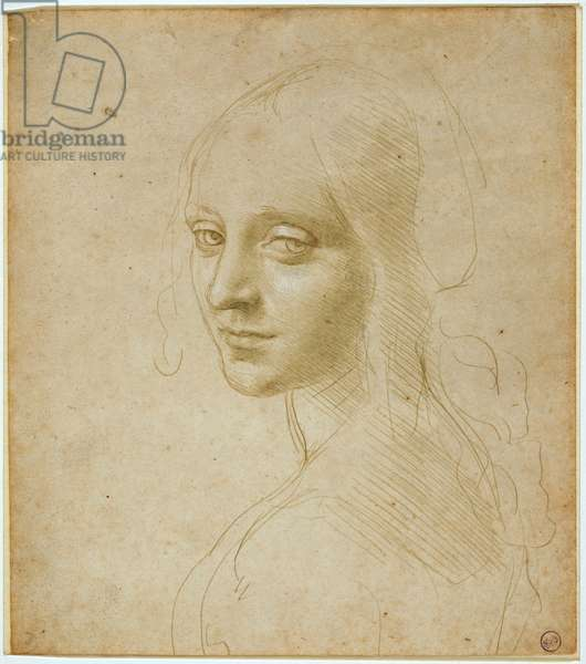 """Bust of a maiden, study for the """"Virgin of the Rocks"""", c. 1483-1485 (metal tip and white lacquer on prepared paper clear ochre)"""