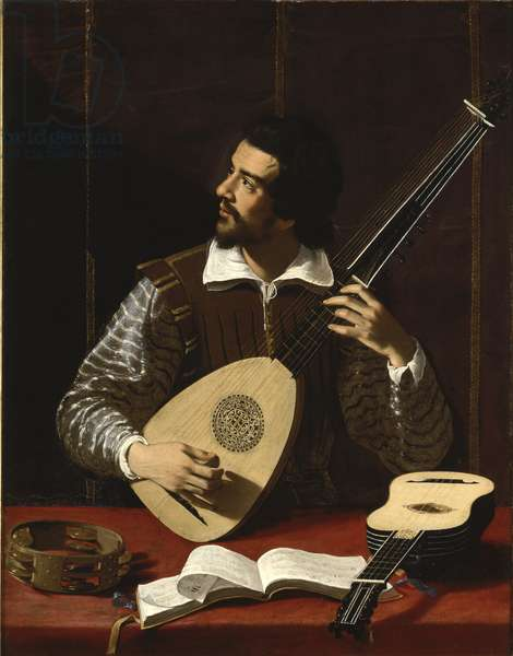 The Theorbo Player, c.1611 (oil on canvas)