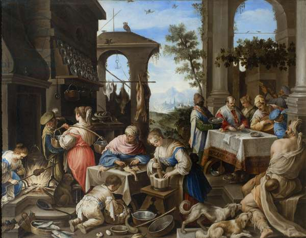 Banquet of the rich Epulone, 1600-25 (oil on copper)