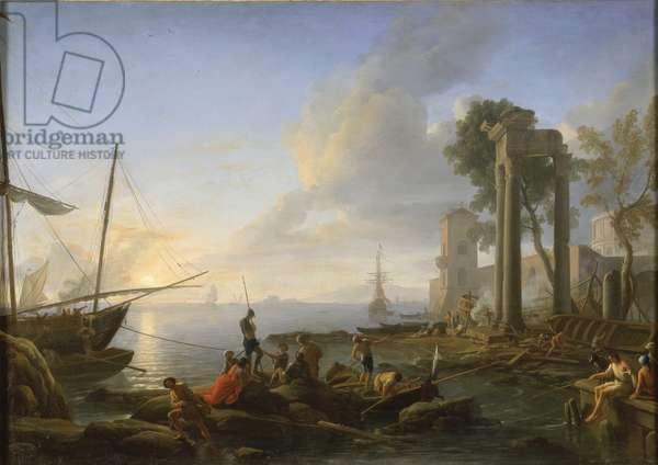 Marina at sunset, 1726 (oil on canvas)