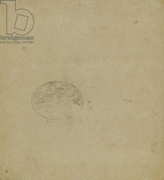 Sketch of ornamental motif within oval, c. 1483-1485? (pen and ink on light ochre paper)