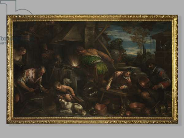 The Forge of Vulcan, c.1580-84 (oil on canvas)