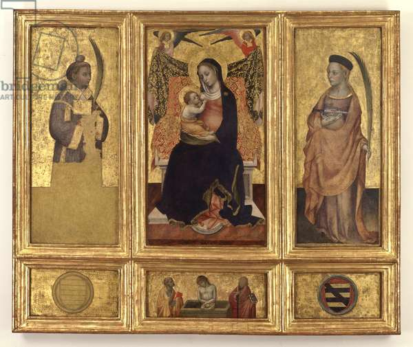 Madonna and Child with Saints Stephen and Lucy; Christ in the tomb and Saints Peter and Paul, c.1425 (tempera and gold on panel carried on canvas)