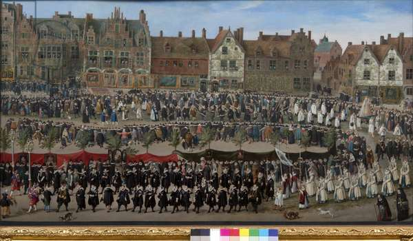 Procession of the Sablon girls in Brussels, c.1635 (oil on wood)